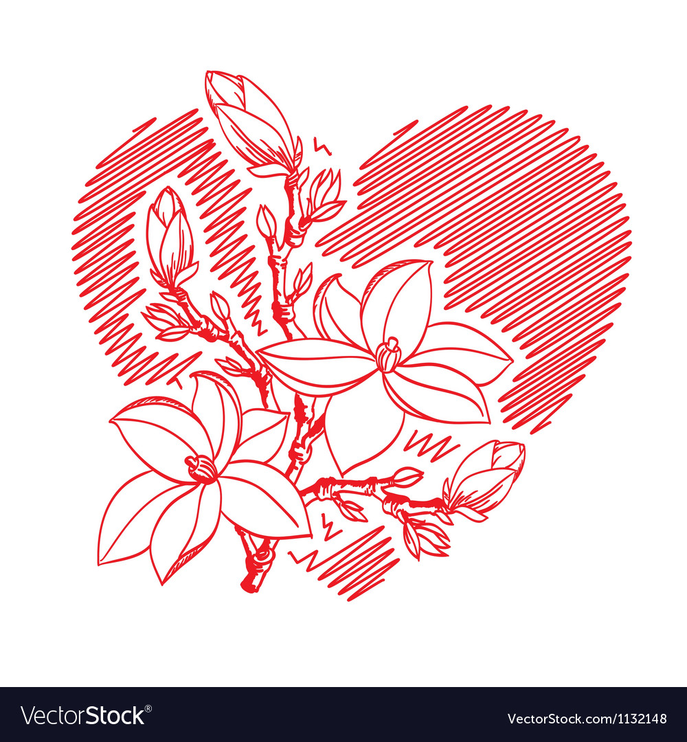 Valentine card with heart and blossom branch vector