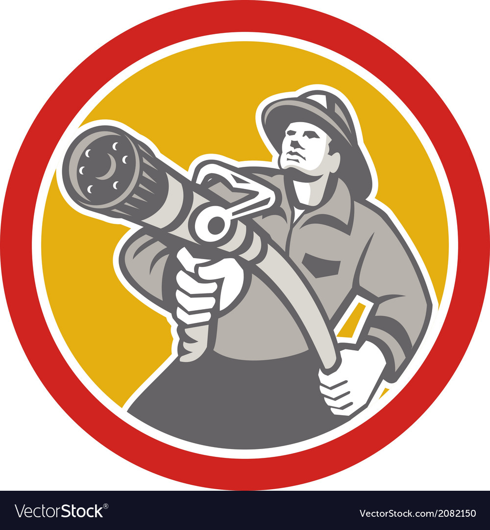 Fireman firefighter aiming fire hose circle vector
