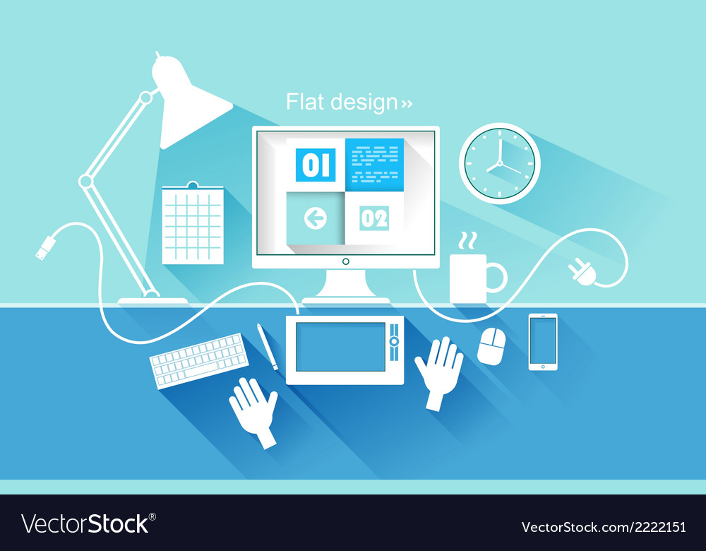 Flat design of modern devices vector