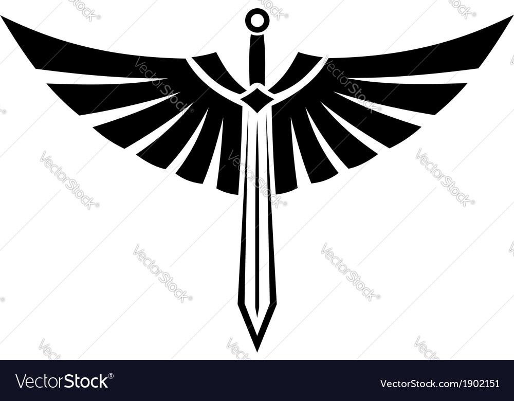 Winged sword tattoo vector