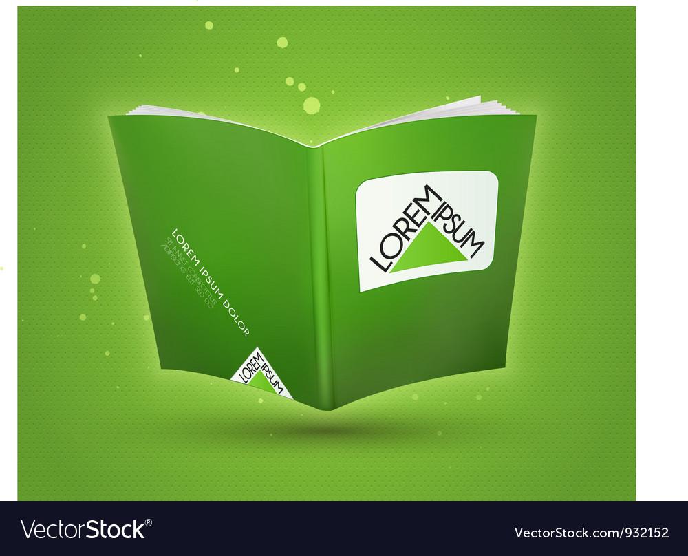 Blank book open template vector