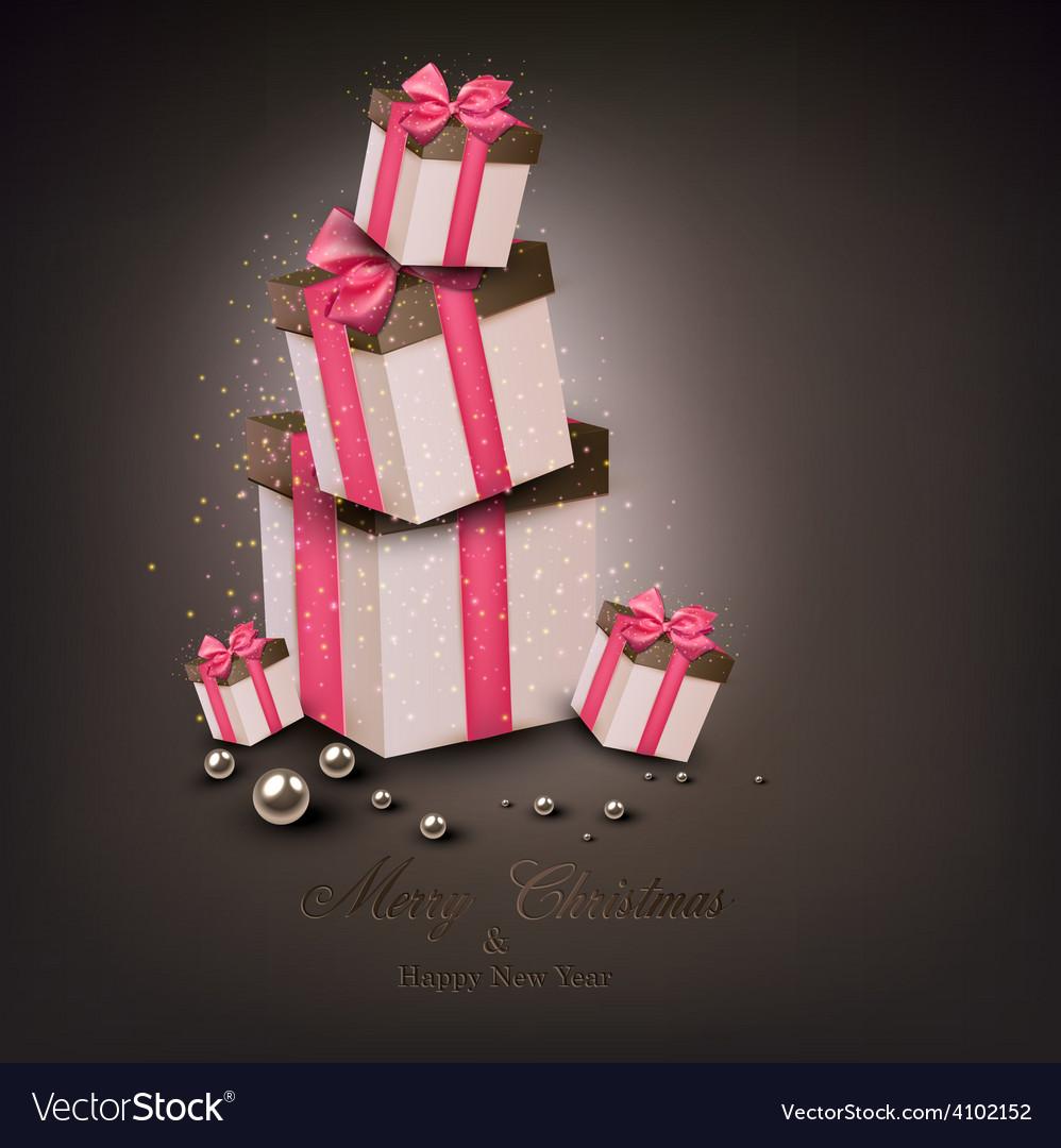 Christmas gift boxes vector