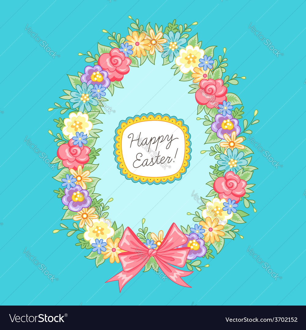 Easter wreath egg blue vector