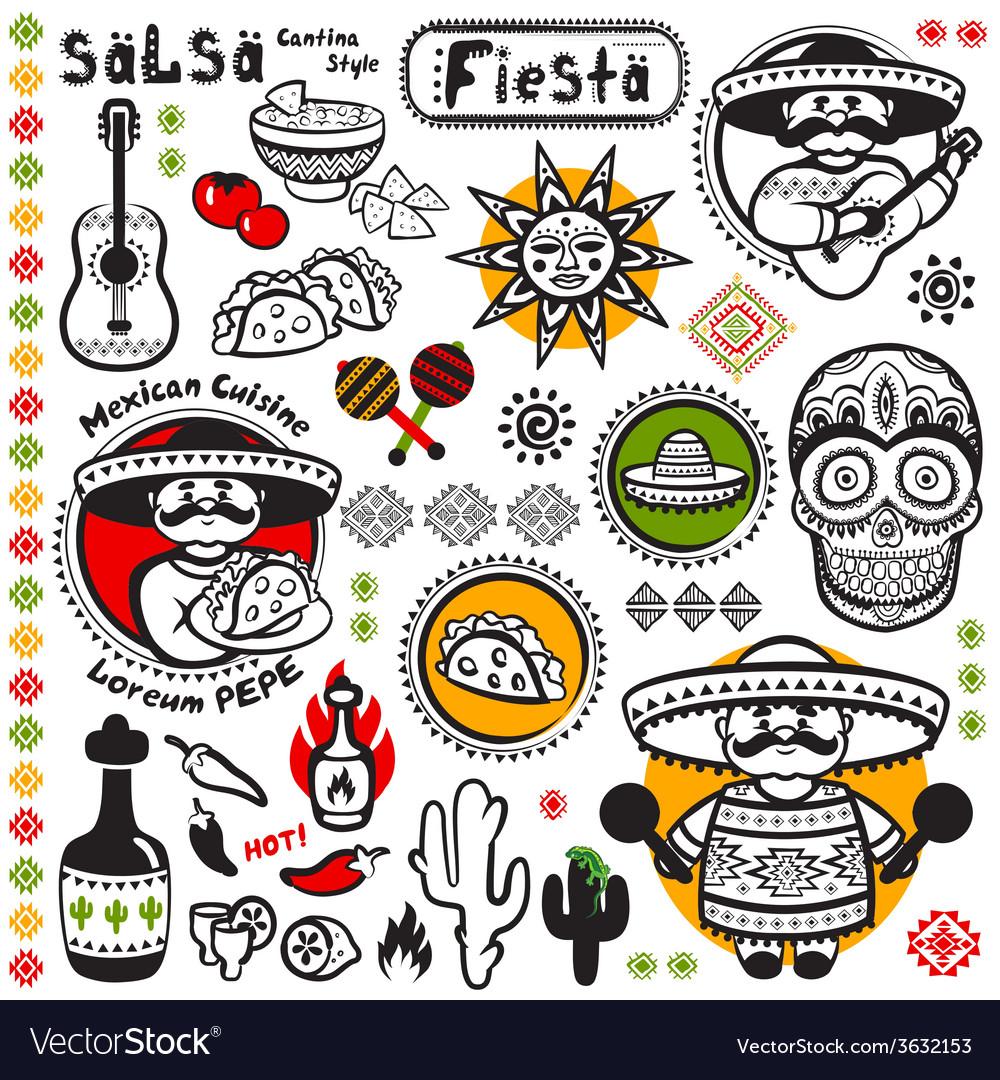 Set of mexican symbols vector