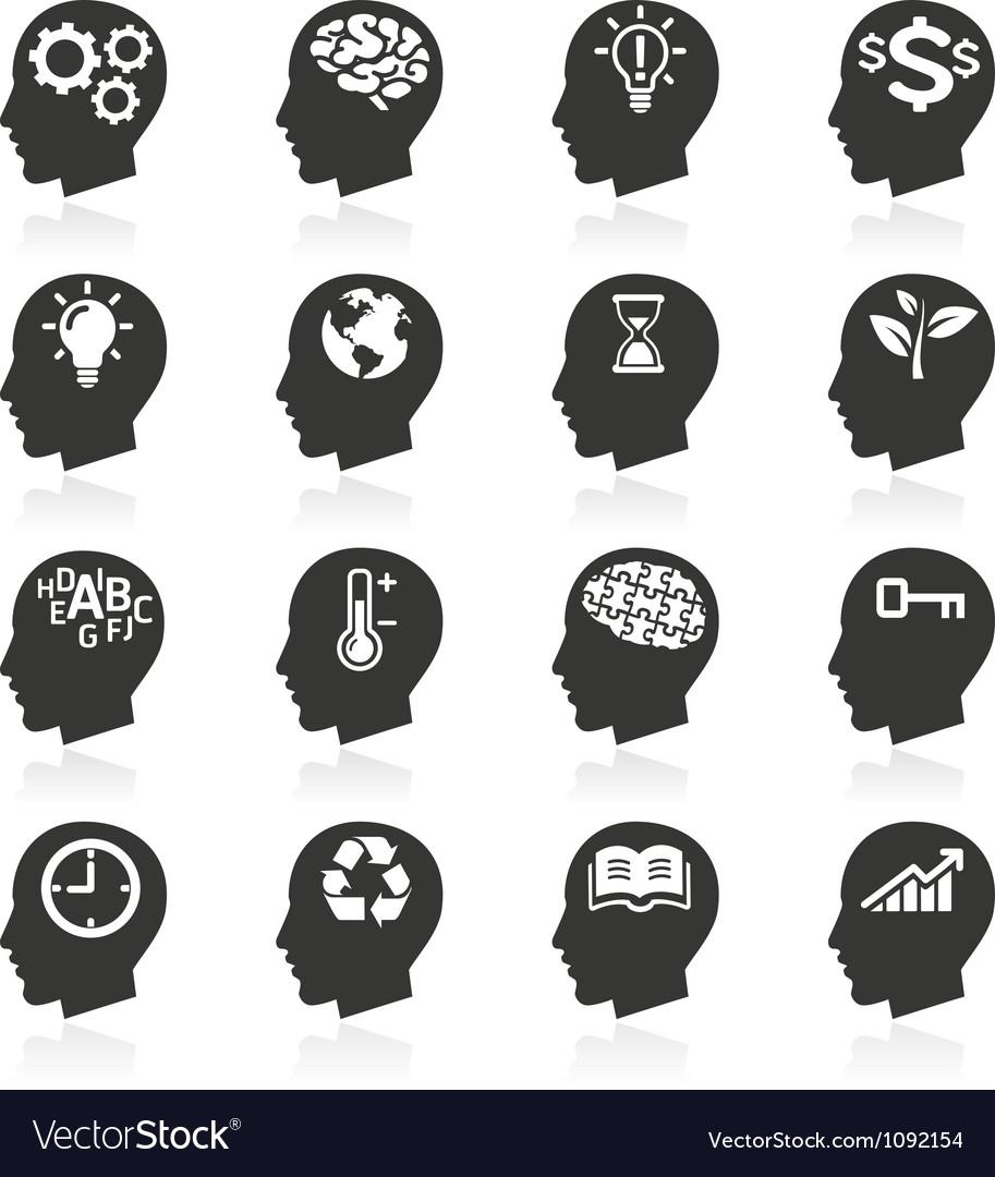 Thinking head icons vector
