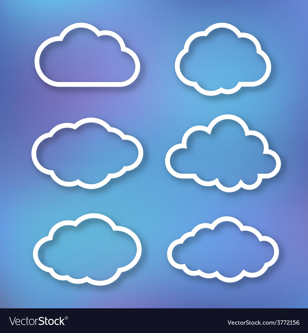 Set of clouds linear vector