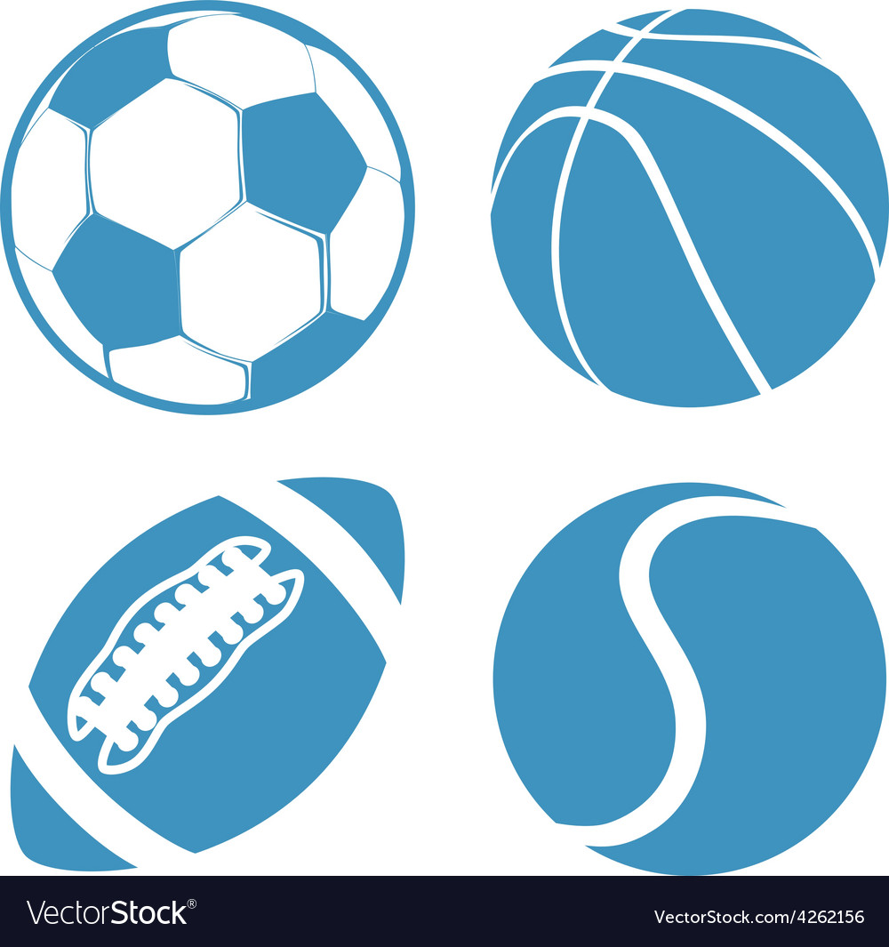 Set of sports balls soccer basketball american vector