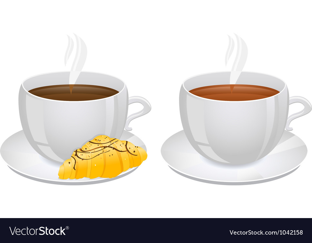 Cups of coffee and tea with croissant vector