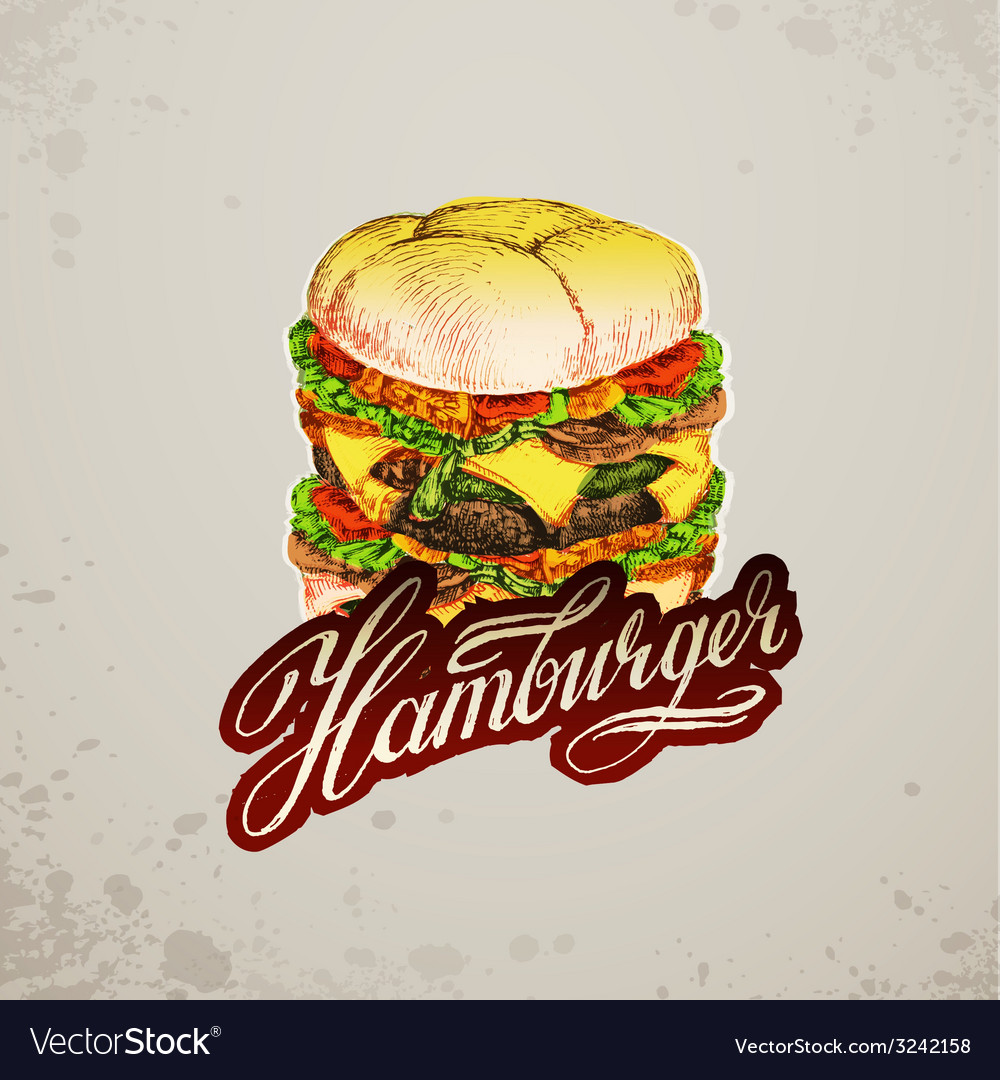 Vintage style hamburger sign background vector