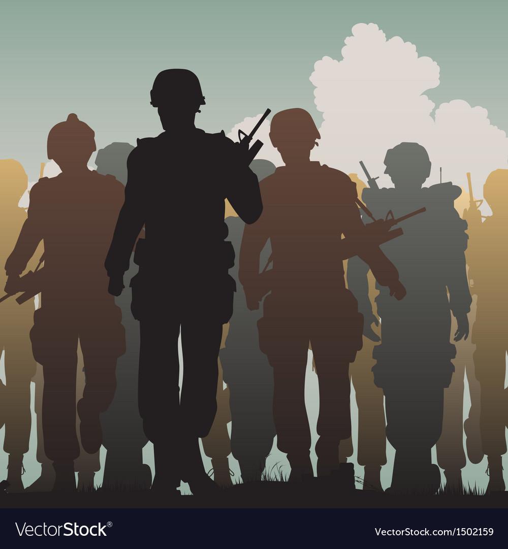 Troops walking vector