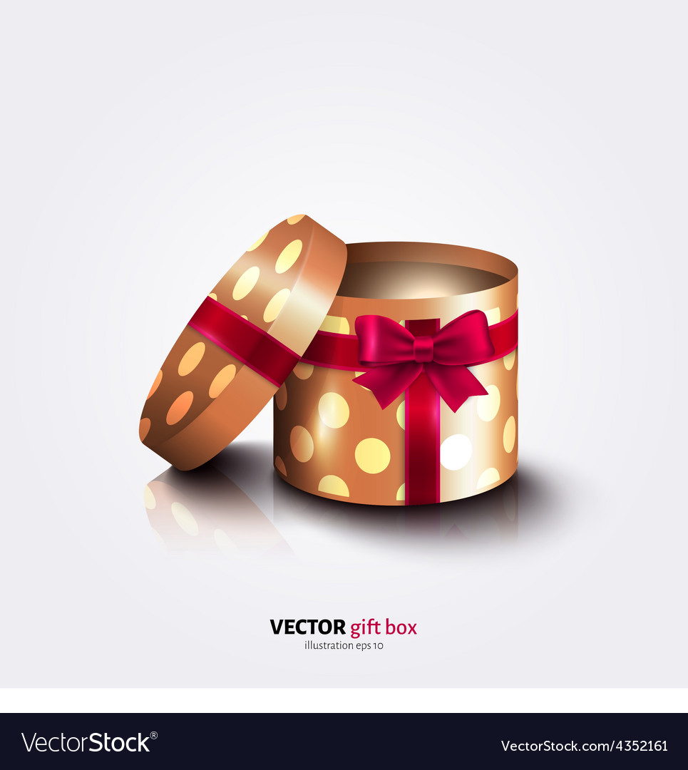 Round open gift box with ribbon polka dots paper vector