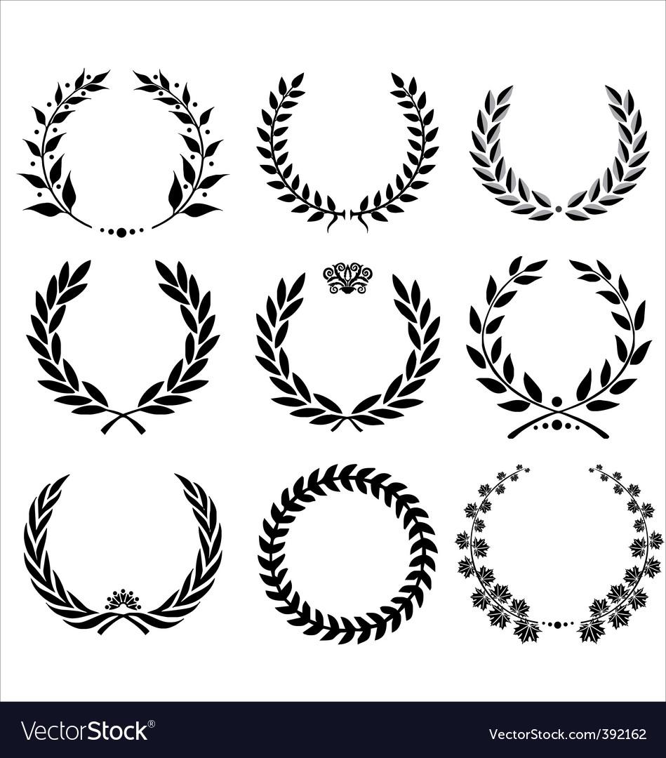 Set - laurel wreath vector
