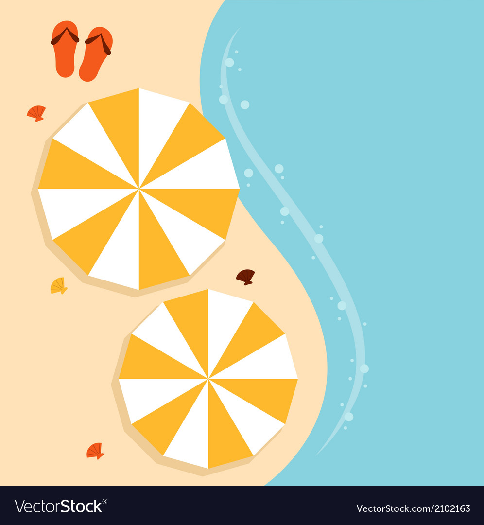 Beach summer background with umbrella vector