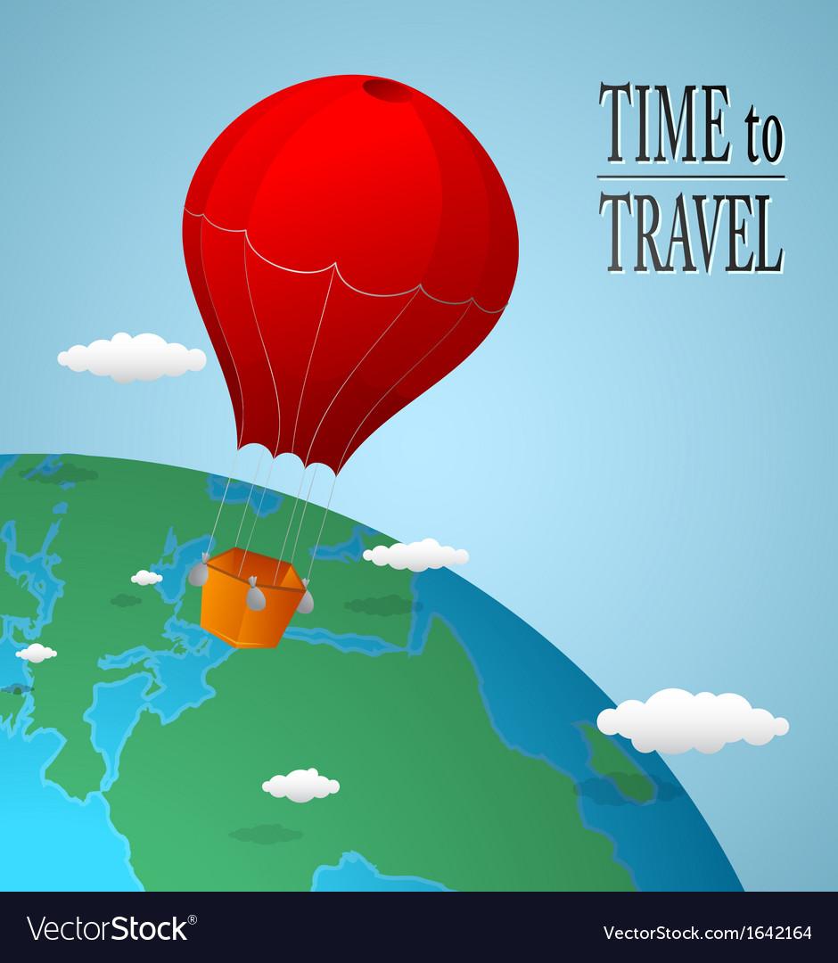 Hot air balloon over earth vector