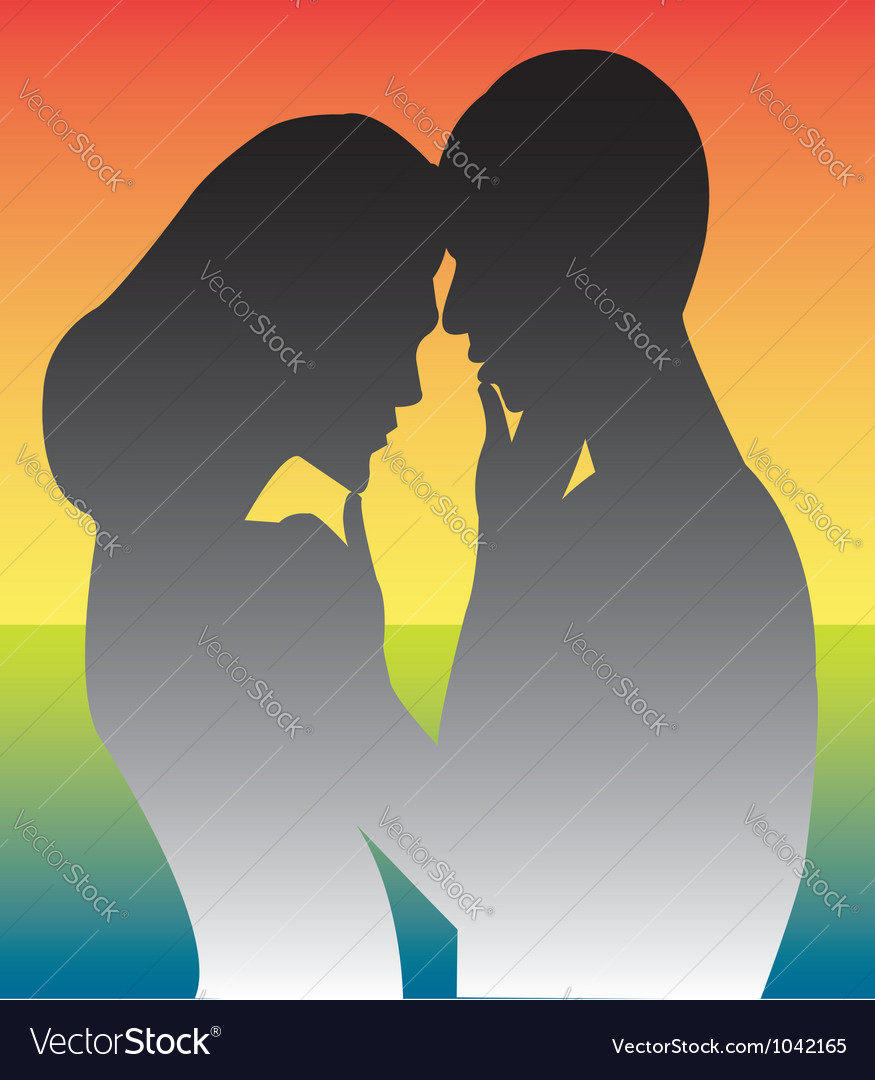 Romantic couple silhouette vector