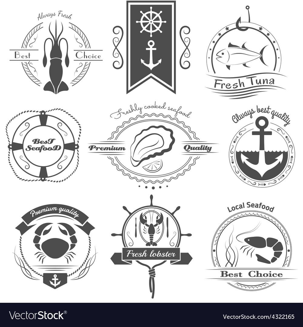 Set of logos seafood vector