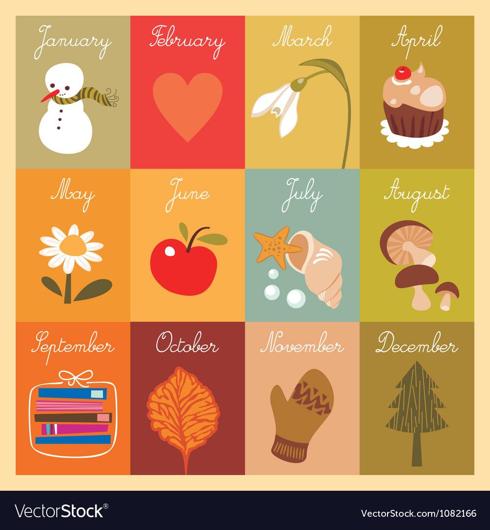 Calendar for children vector