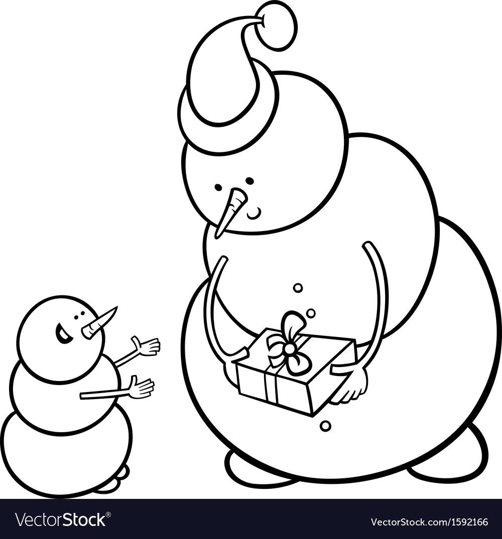 Christmas snowmen coloring page vector