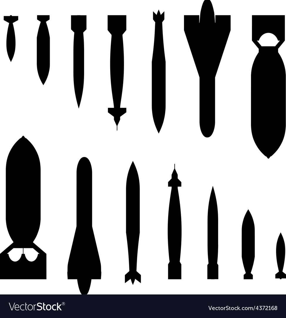 Air bombs silhouettes vector