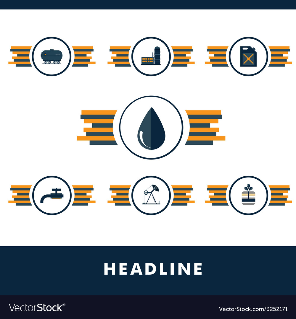 Set icons of fuel and petroleum industries vector