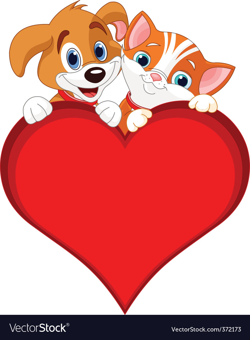 Valentine cat and dog sign vector