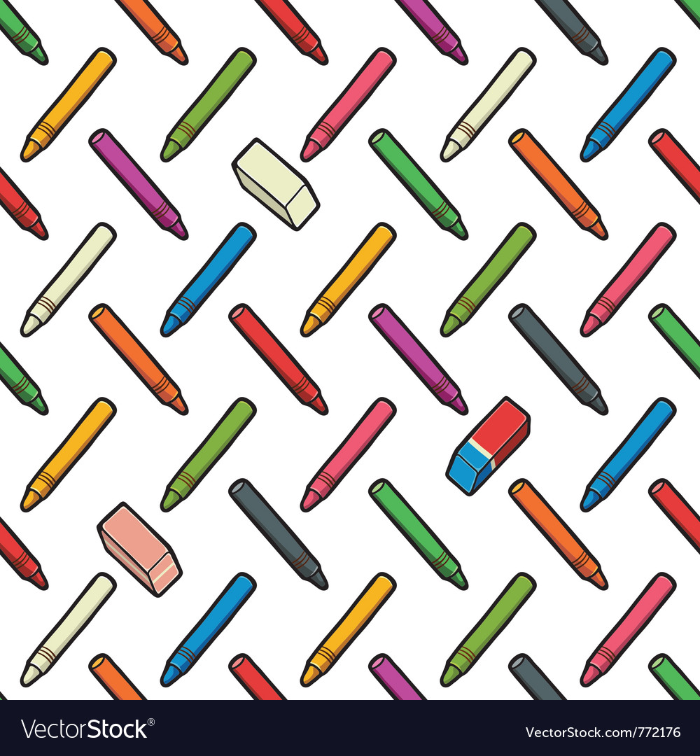 Pattern of pencils and erasers vector