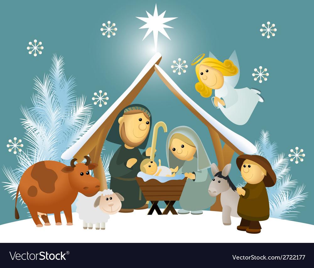 Cartoon nativity scene with holy family vector