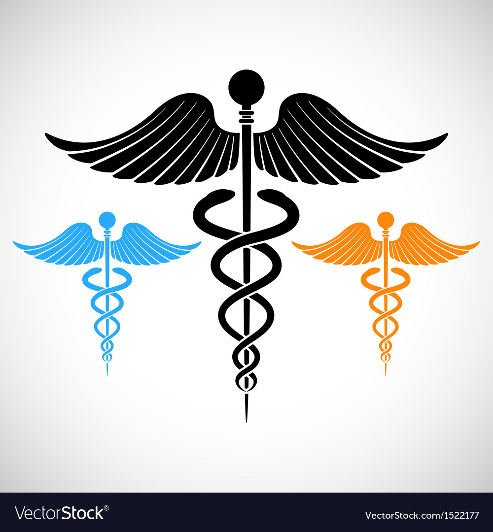 Colorful medical sign caduceus vector