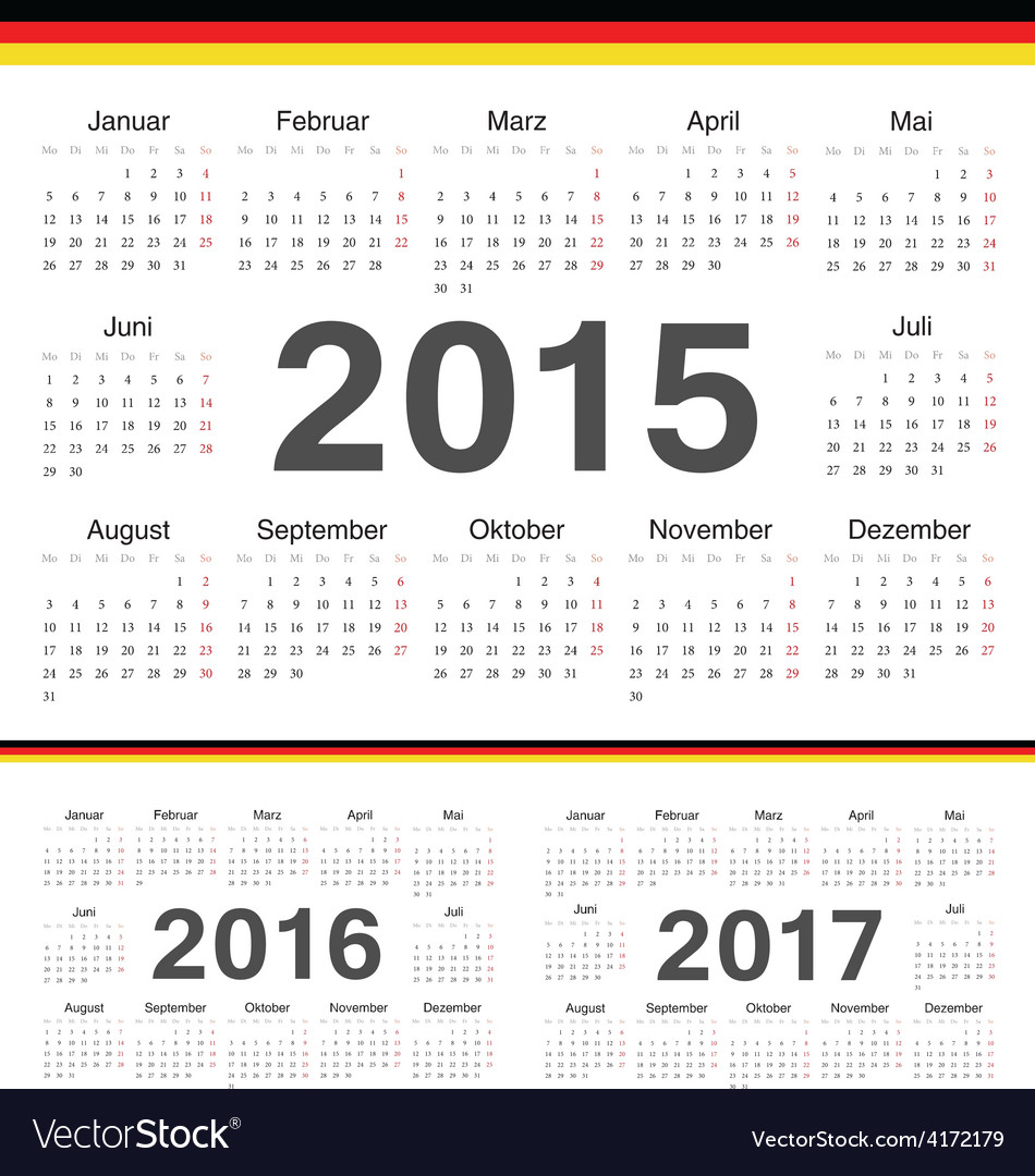 German circle calendars 2015 2016 2017 vector
