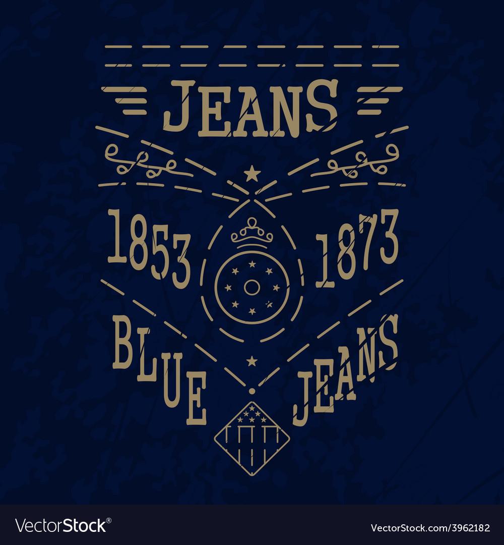 Blue jeans emblemvs vector