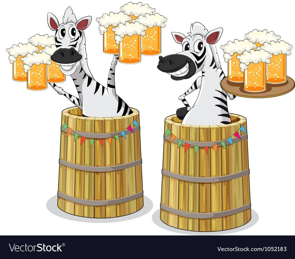 Zebra with beer jar vector