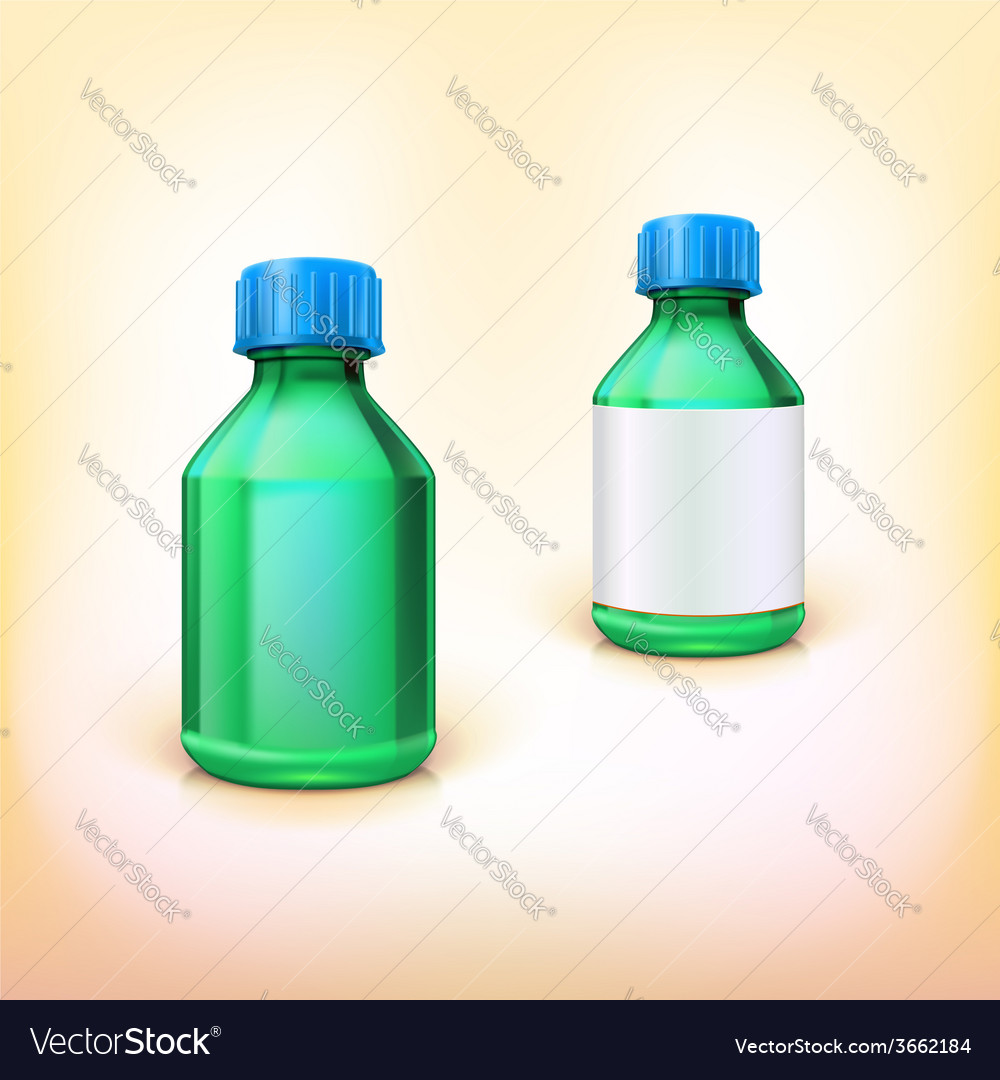 Green medical bottle with blue lid vector