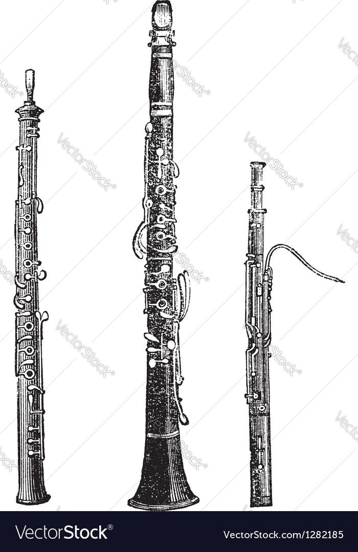 Woodwind instruments vintage engraved vector