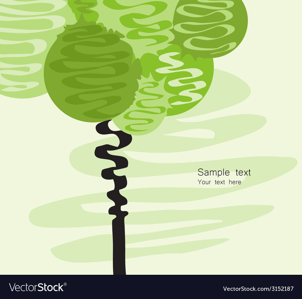 Card with stylized art tree vector