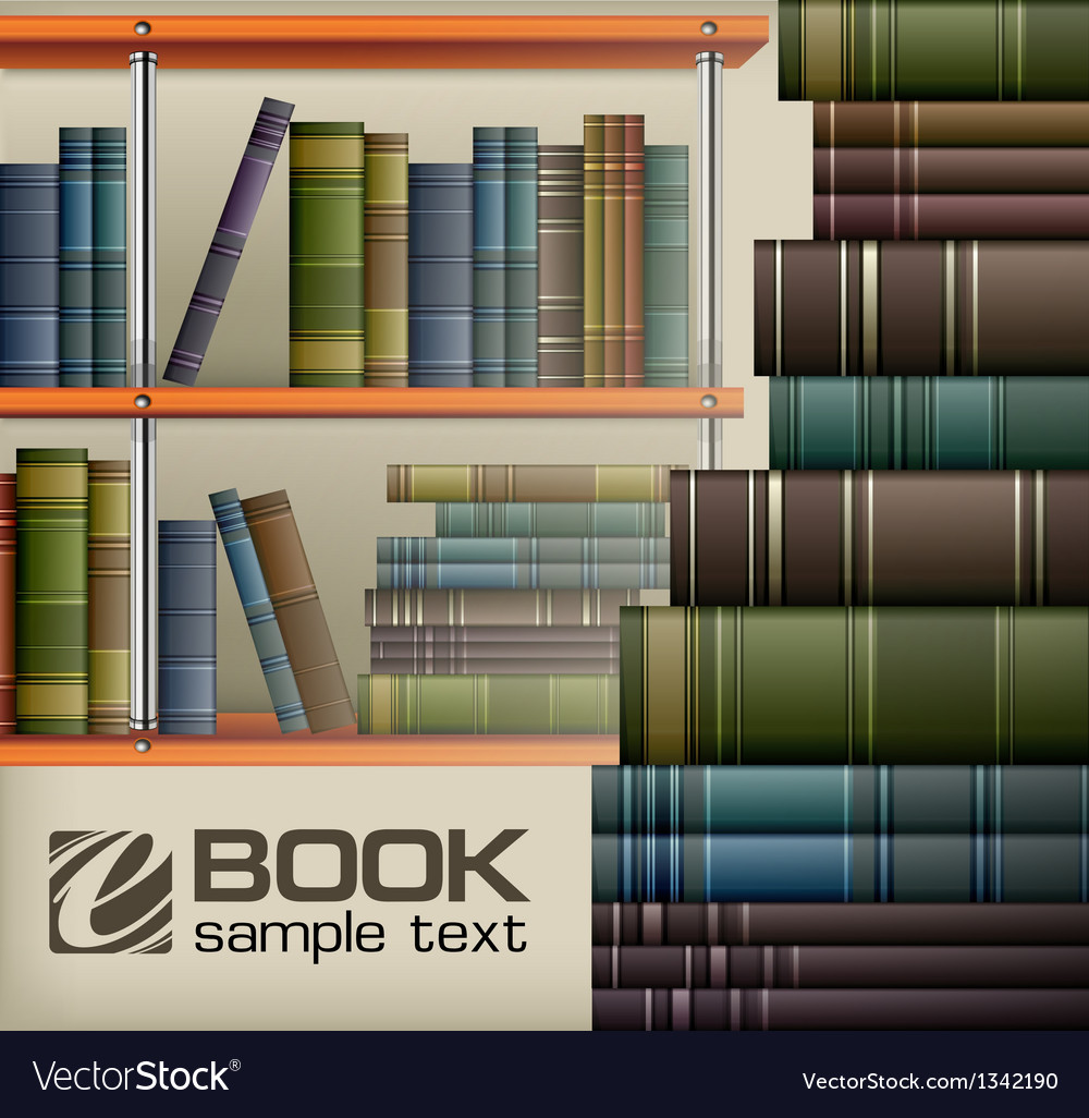 Book stacks on shelf vector