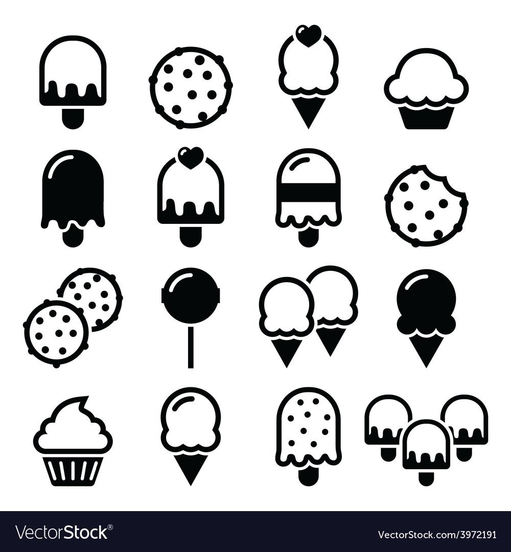 Food desserts icons - cupcake ice-cream cookie vector