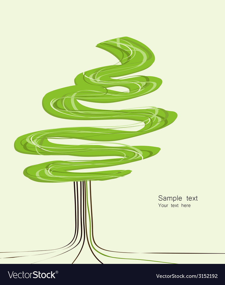 Card with abstracted stylized tree vector