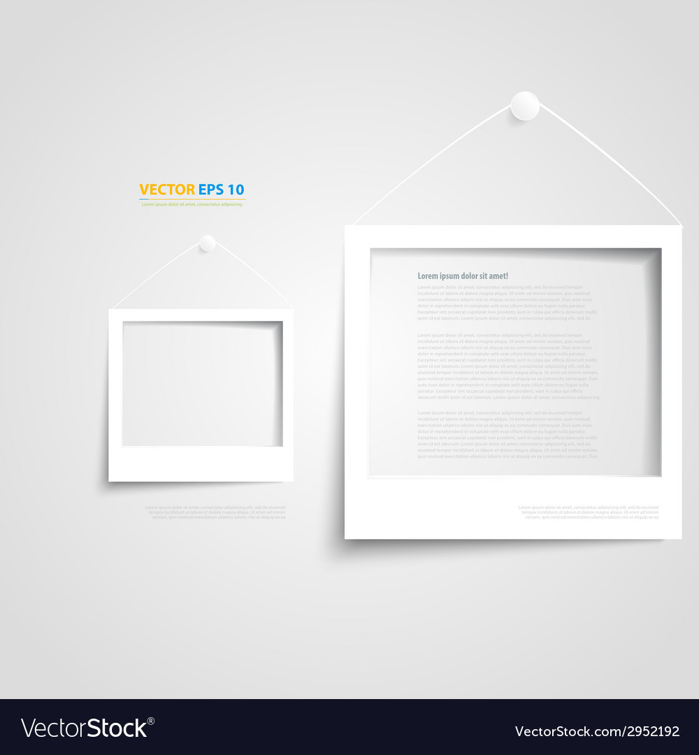 White frame on the wall vector