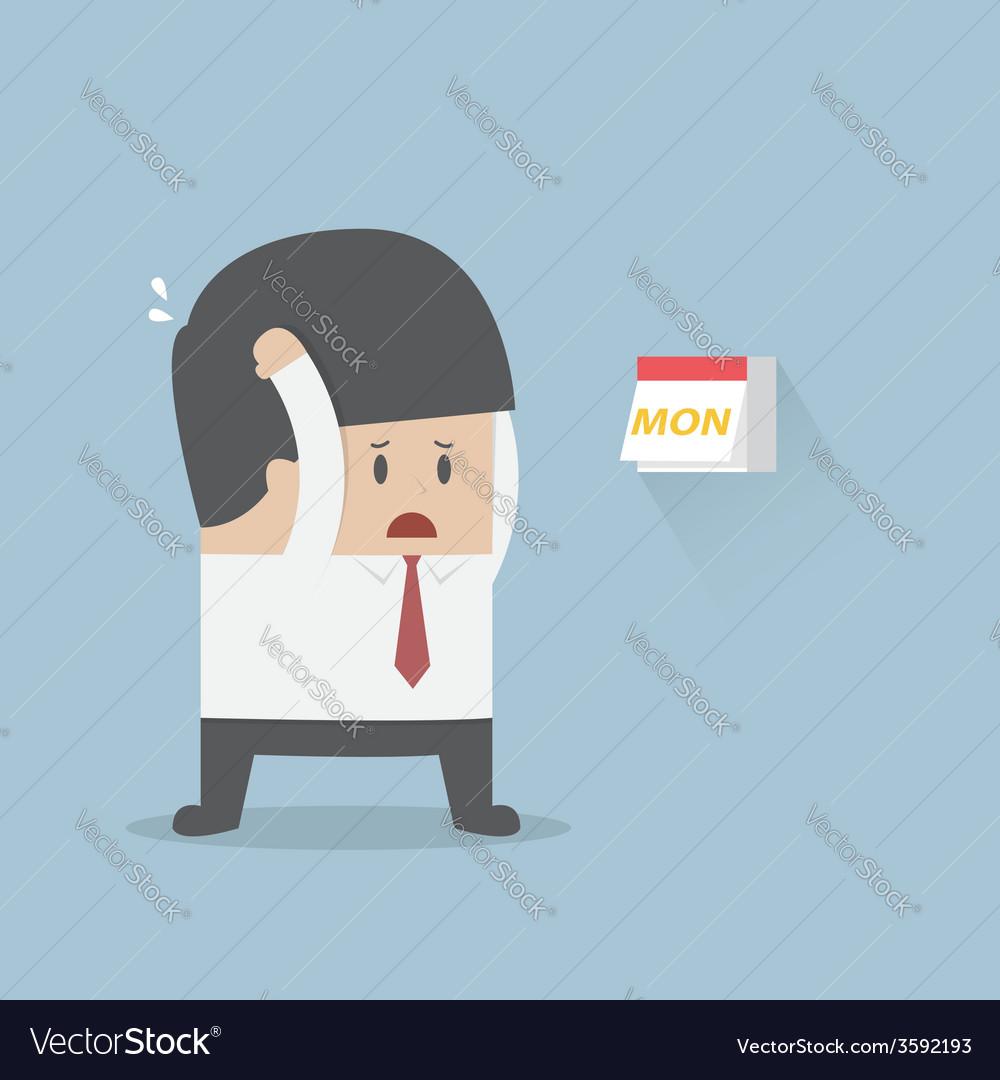 Businessman boring monday vector