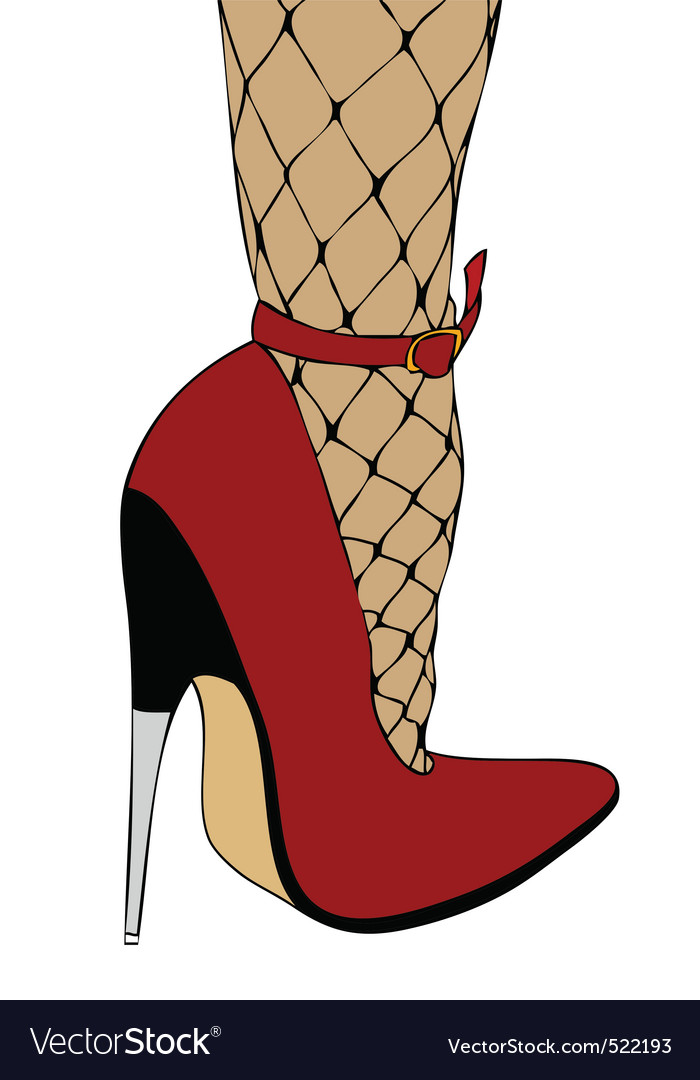 High heels and fishnet stockings vector
