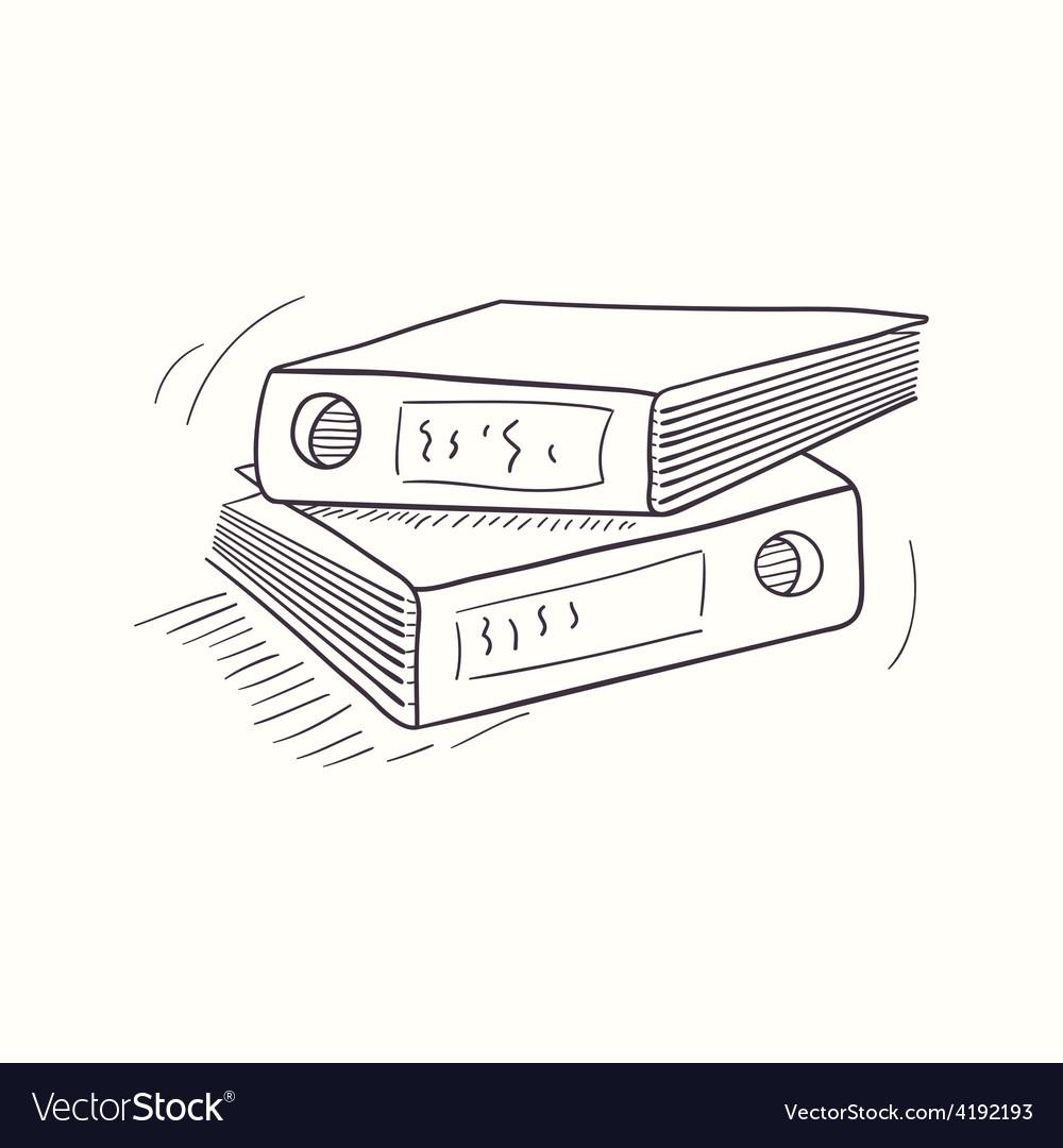 Sketched desktop archive folder icon vector