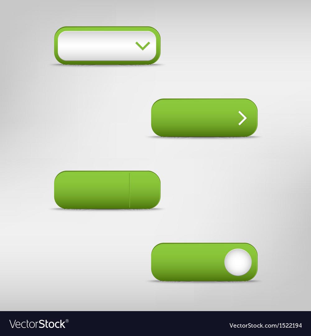 Green empty rectangular buttons vector