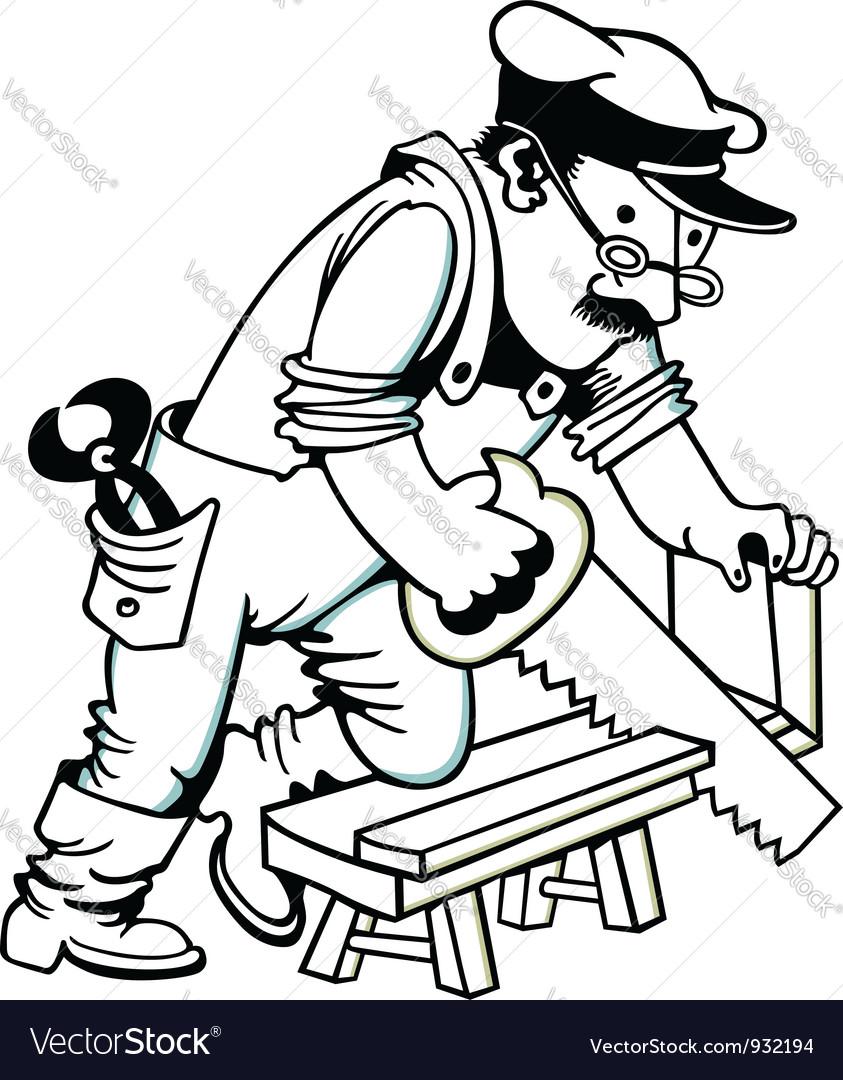 Man sawing wood vector