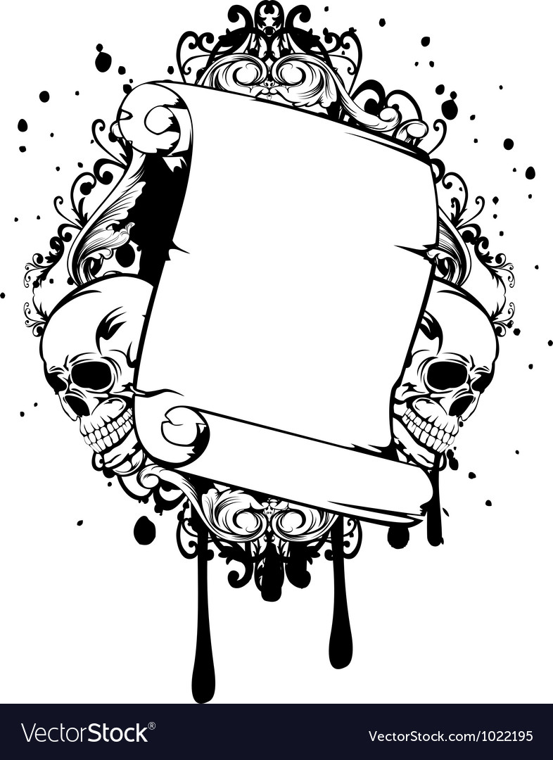 Skull with scroll and patterns vector