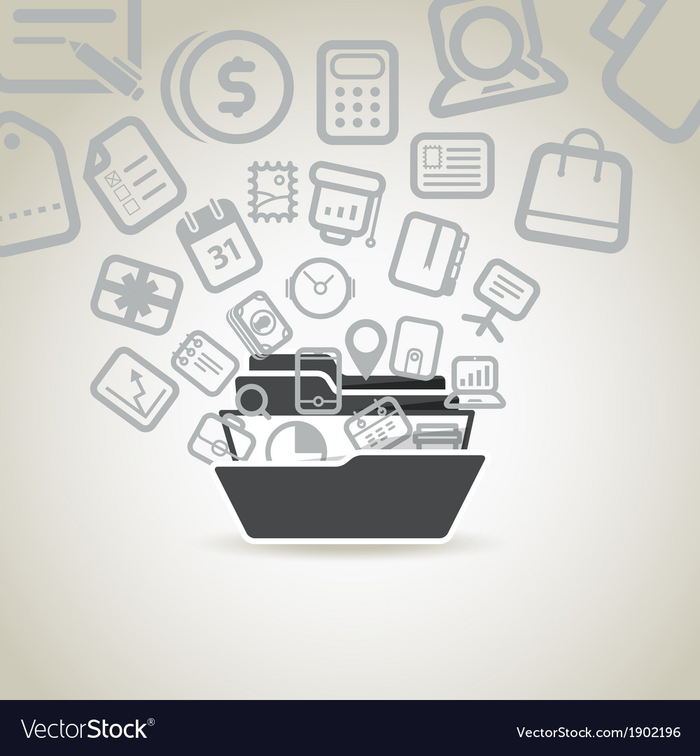 Modern business concept different icons vector