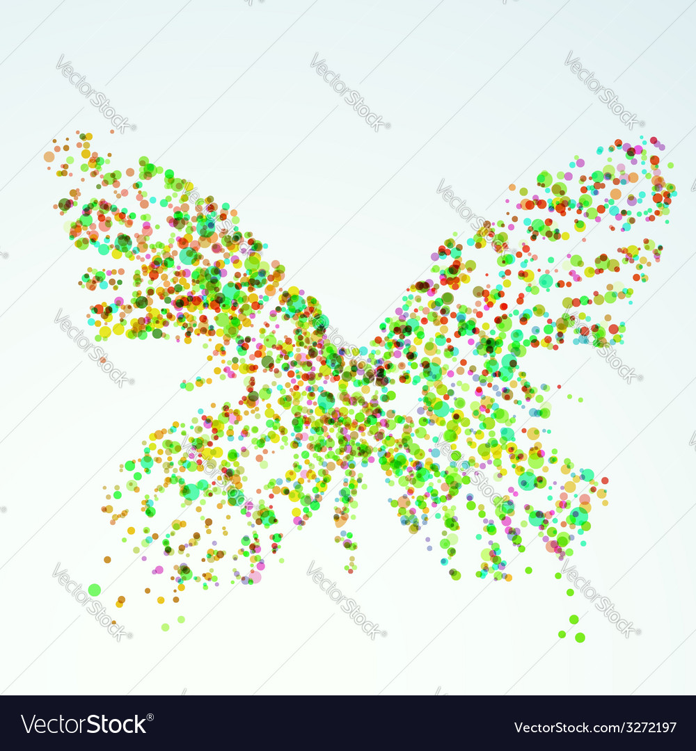 Paint stain butterfly silhouette bright colorful vector