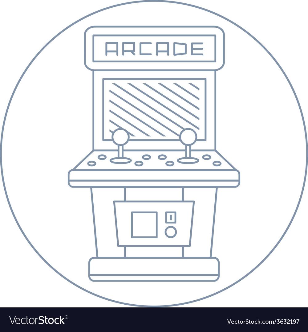 Simple line drawn vintage game arcade cabinet icon vector