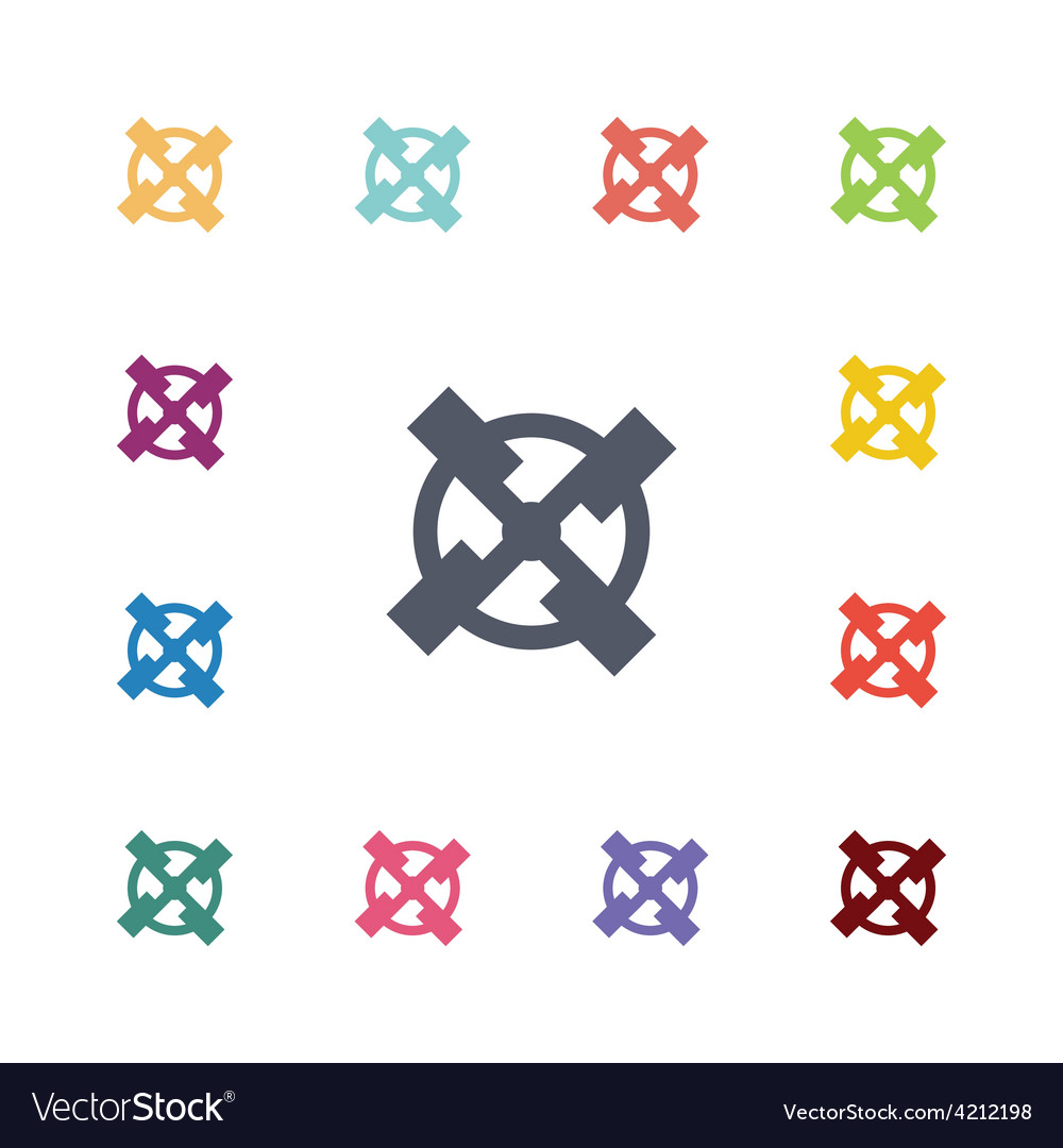 Mill flat icons set vector