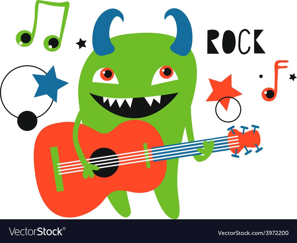 Green monster guitarist vector