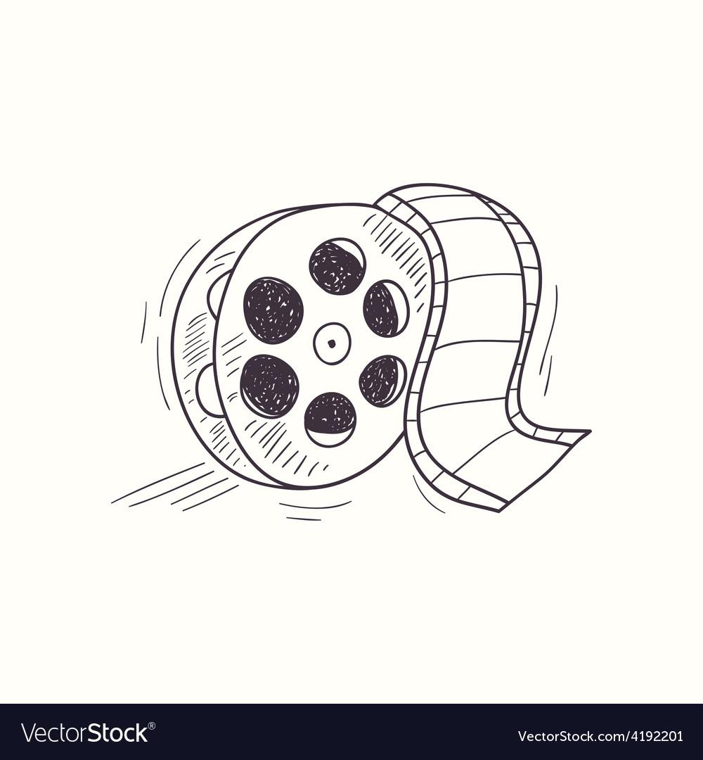 Sketched film reel desktop icon vector